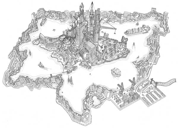 BRIC Island - The Disney Land of Tomorrow - Drawing by Toby Melville-Brown