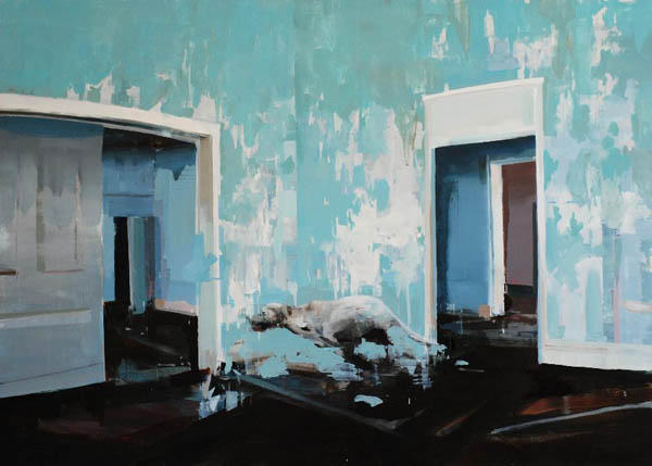 Blue Room with Running Dog - oil on wood by Alex Kanevsky