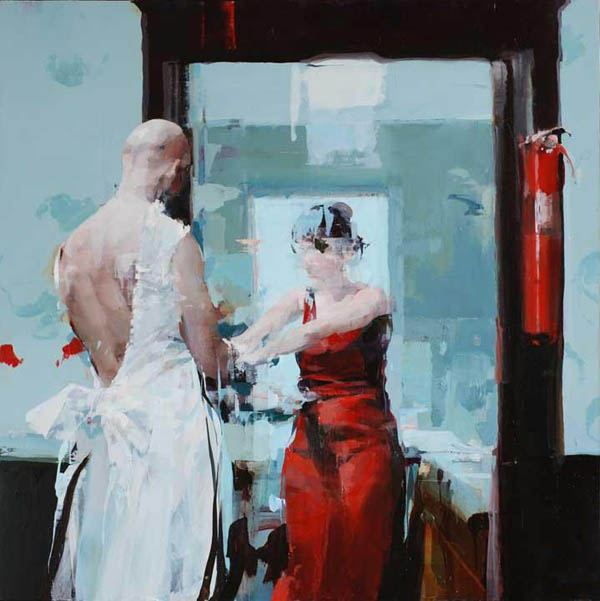 Couple with Fire Extinguisher - oil on board by Alex Kanevsky
