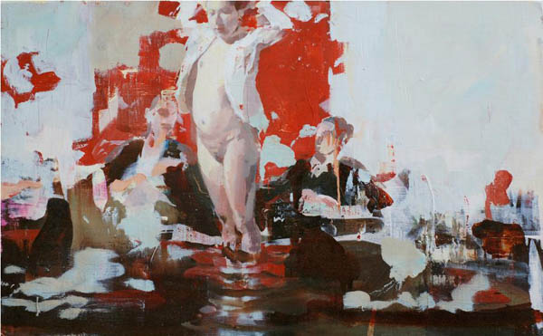 Dinner with Exhibitionist - oil on canvas by Alex Kanevsky