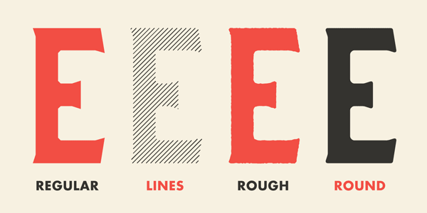 The family includes four different styles consisting of Regular, Lines, Rough, and Round.
