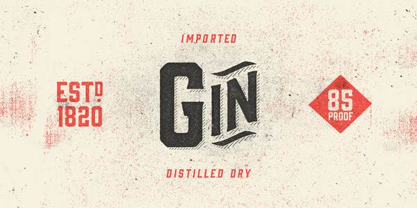 The Gin font family is a vintage display typeface from Hold Fast Foundry.