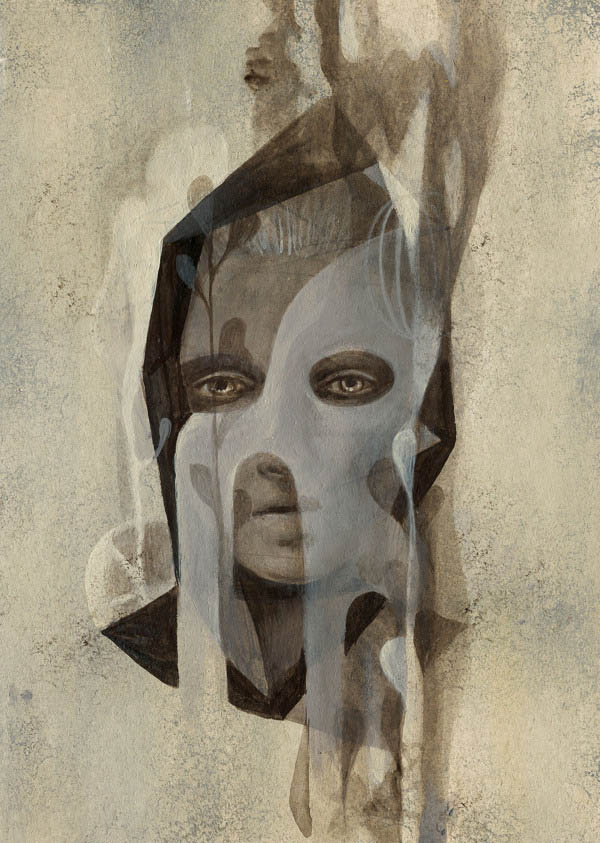 Girl with a hood - Acrylic on board by Alice Wellinger