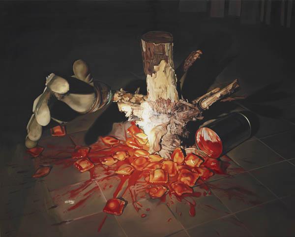 Le gant, la bûche et les raviolis - Oil Painting by Till Rabus