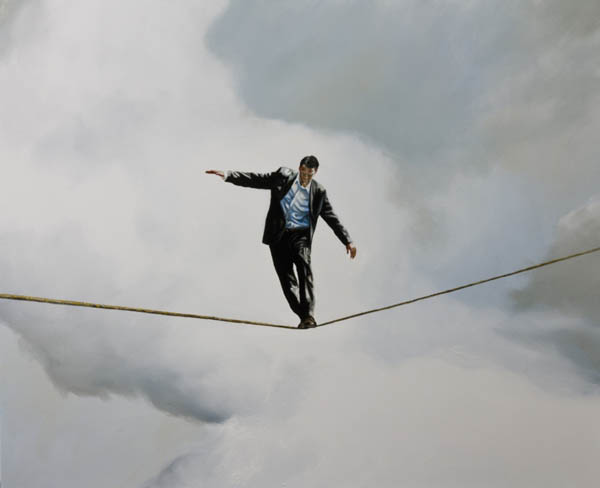 Man in Balance - oil on canvas by Eric Zener