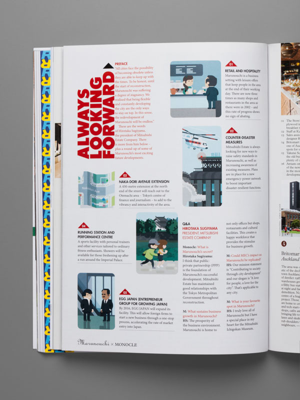 Marunouchi Editorial Illustrations by studio Hey for Monocle magazine