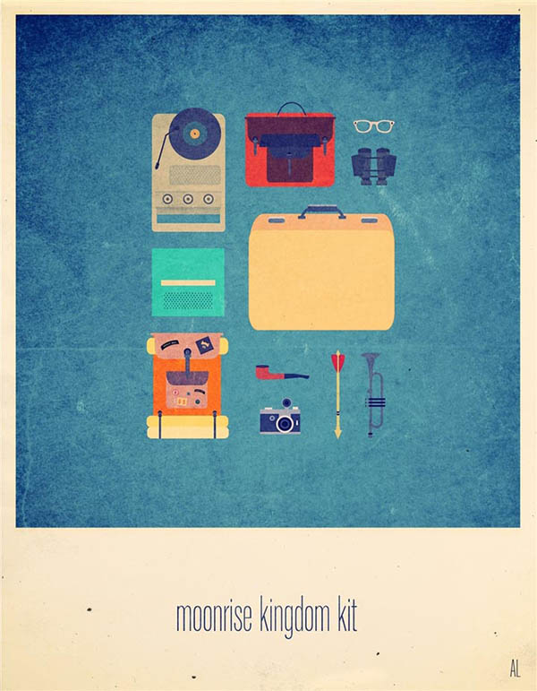 Moonrise Kingdom Kit - Minimalist Poster Illustration by Alizée Lafon