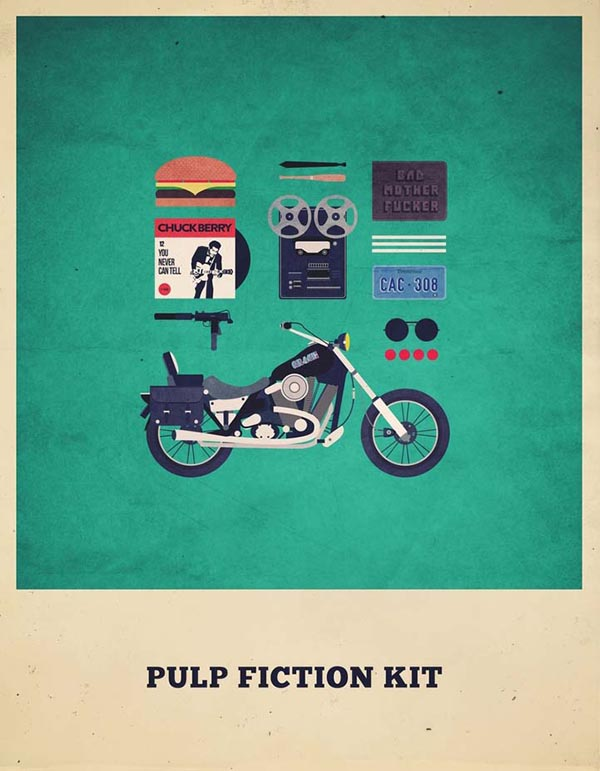 Pulp Fiction Kit - Minimalist Poster Illustration by Alizée Lafon