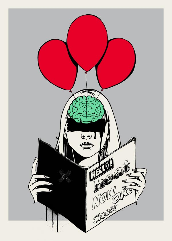 Reader - 4 color screenprint by Fantome