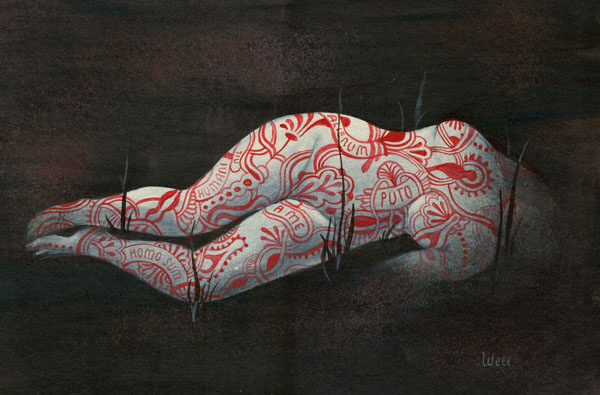 Tattooed Woman - Acrylic on board by Alice Wellinger