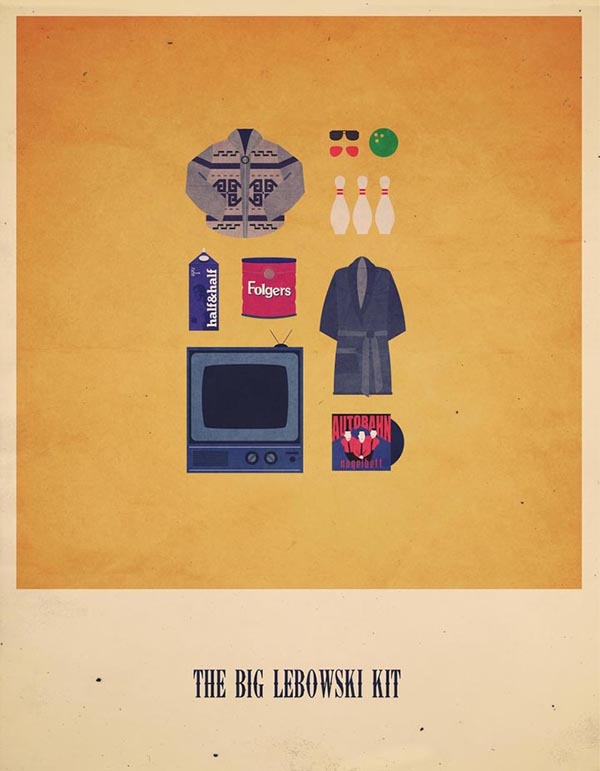 The Big Lebowski Kit - Minimalist Poster Illustration by Alizée Lafon