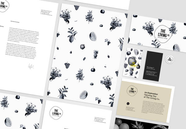 The Living Co. - Organic Store - Stationery Design by Big Horror Athens