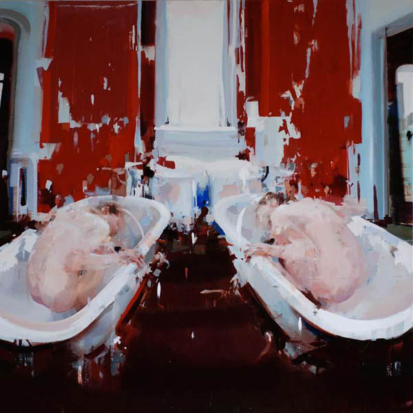 Twins' Bath - oil on linen by Alex Kanevsky