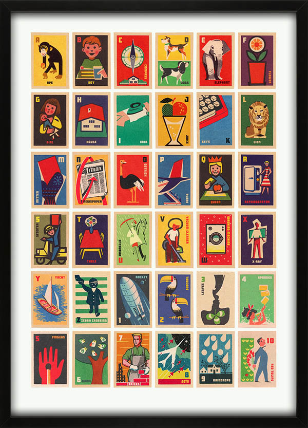 Vintage Matchbox Labels A to Z - Illustrated Alphabet Print by 67 Inc