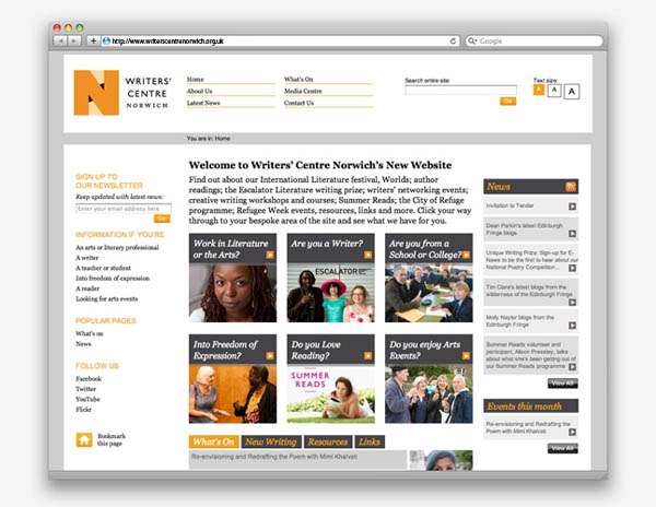 Writers' Centre Norwich - Web Design by The Click Design Consultants