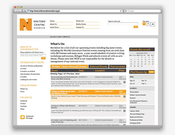 Writers' Centre Norwich - Website Design by The Click Design Consultants