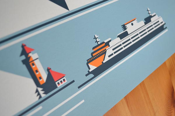 Ferry Seattle Illustration by Rick Murphy