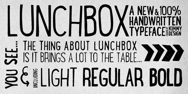 Lunchbox - hand drawn vintage typeface by Kimmy Design