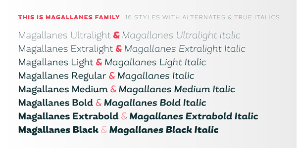 Magallanes - 16 styles with alternates and true italics