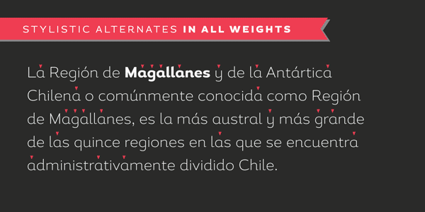 Magallanes - stylistic alternates in all weights
