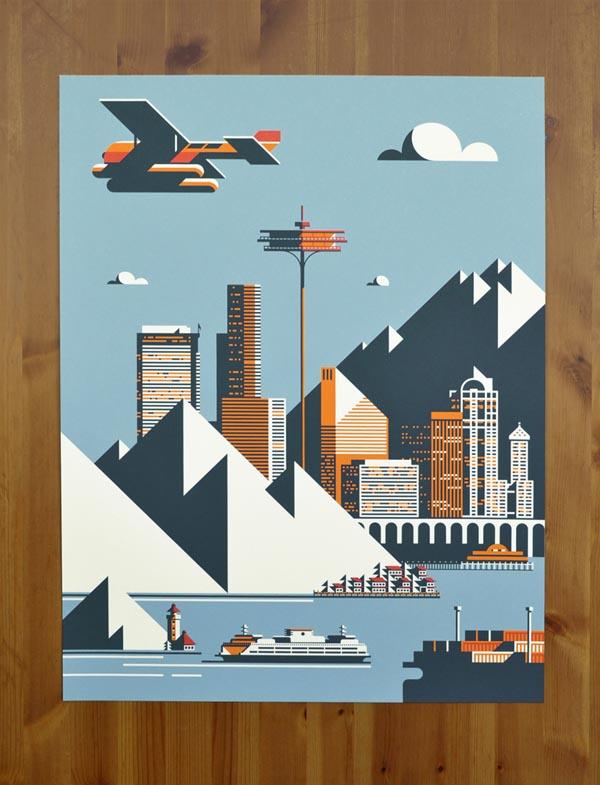 Seattle Poster Illustration by Rick Murphy