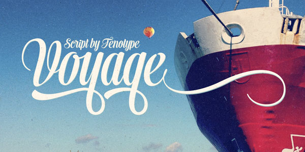Voyage Smooth Vintage Script Font Family by Fenotype