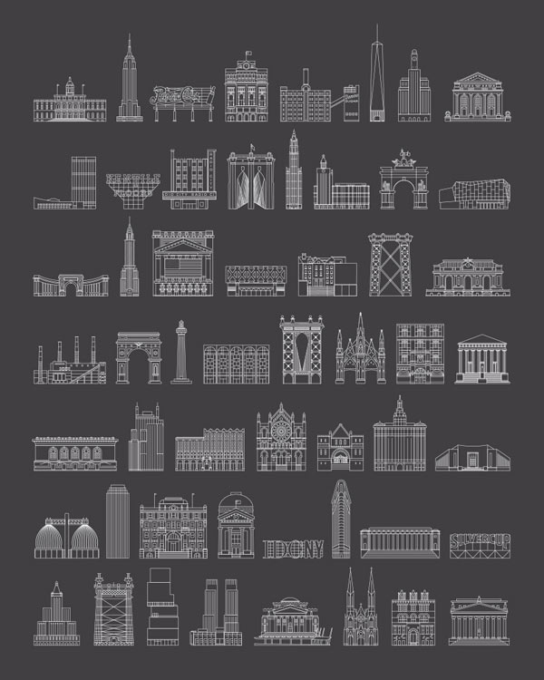 WalkNYC Wayfinding System - Illustrated Buildings