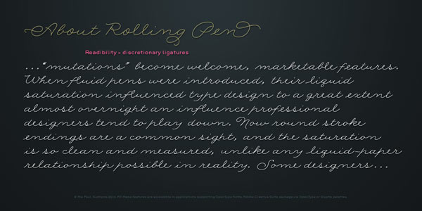 About the Rolling Pen Script Font by Sudtipos