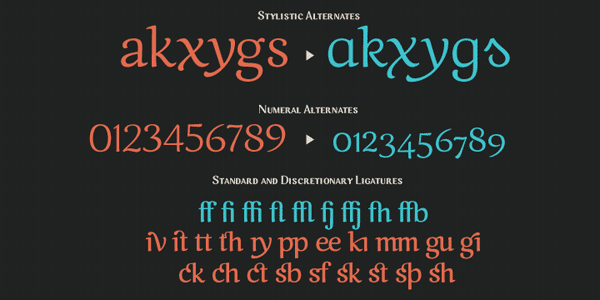 Caturrita Extra - Alternates and Ligatures