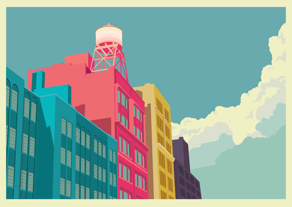 E10th Street - New York City Illustration by Remko Heemskerk