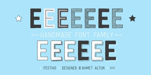 Festivo Letters Font - handmade layered type family by Ahmet Altun