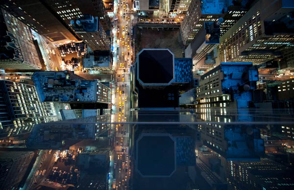 Intersection - NYC at Night - Bird's Eye View Photography by Navid Baraty