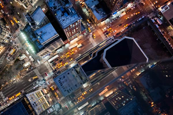 bird s eye view photography of new york city at night by