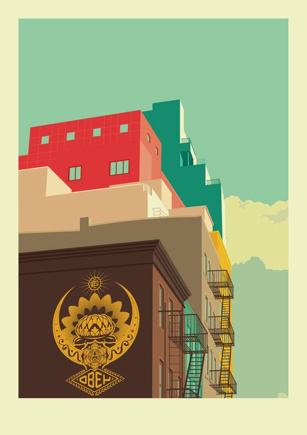 Lower East Side - New York City Illustration by Remko Heemskerk