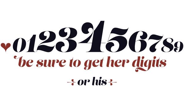 Lust Script Typeface - Numbers