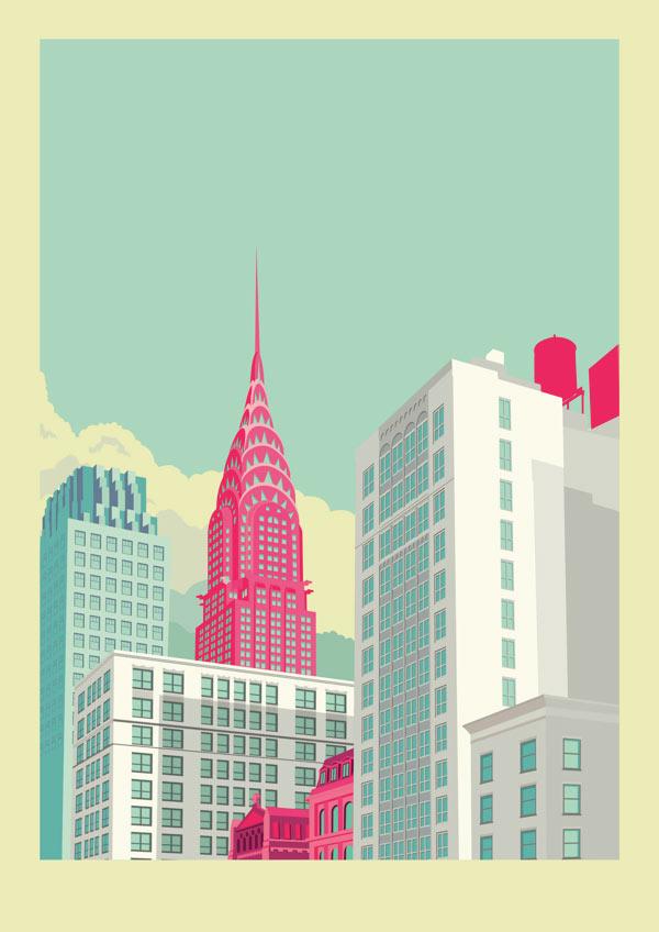 Park Avenue - New York City Illustration by Remko Heemskerk