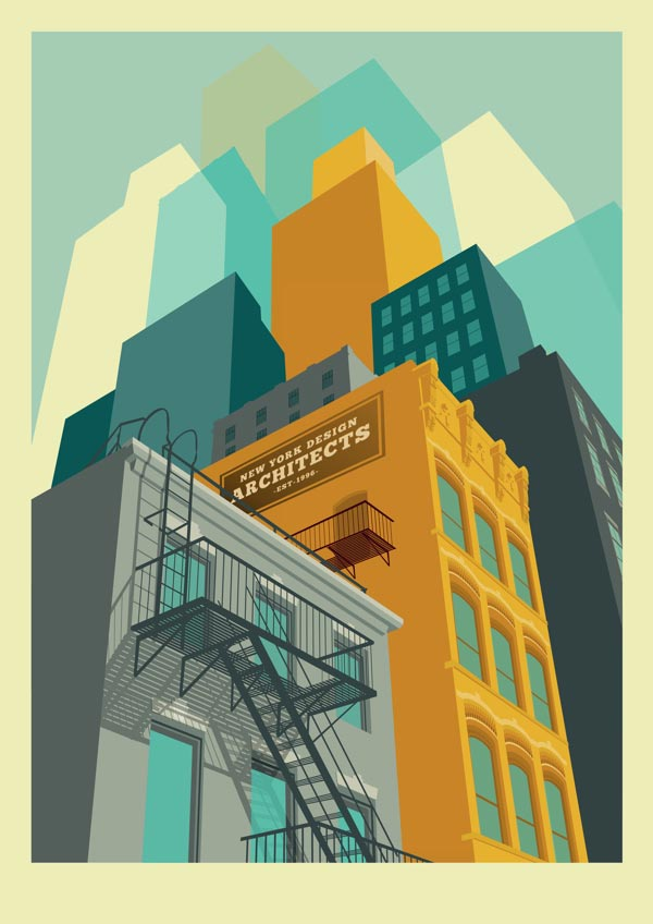 Tribeca - New York City Illustration by Remko Heemskerk