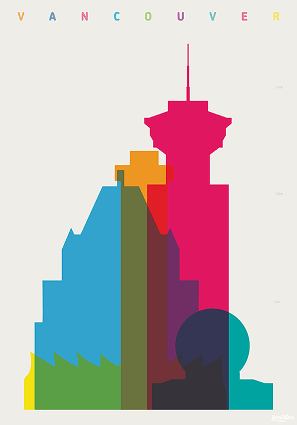 Vancouver - Shapes of Cities - Screenprint by Yoni Alter