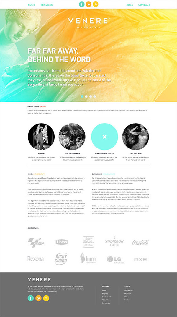 Venere® hostess agency - Landing Page Concept by Attila Horvath