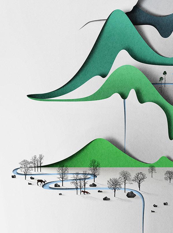 Vertical Landscape - Papercut Illustration by Eiko Ojala - close up