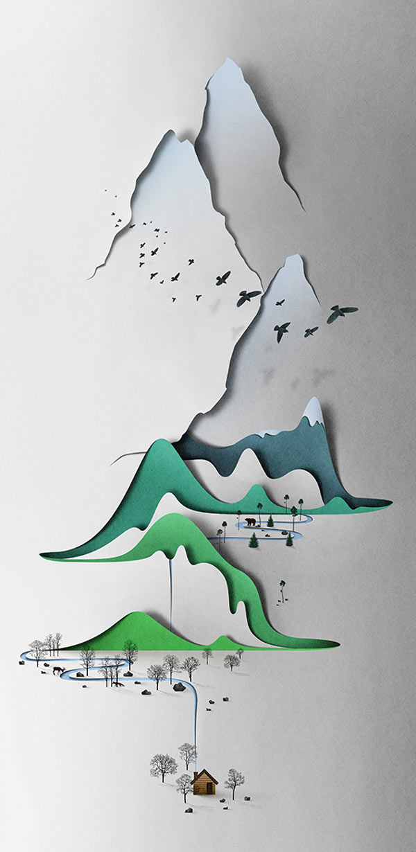 Vertical Landscape – Papercut Illustration by Eiko Ojala