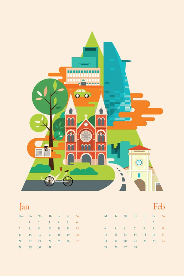 Illustration Calendar Design : Calendar illustrations by tu bui