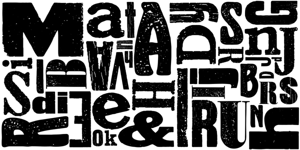 Wood Type Collection 2 - Bold and Grungy Display Fonts by Borutta