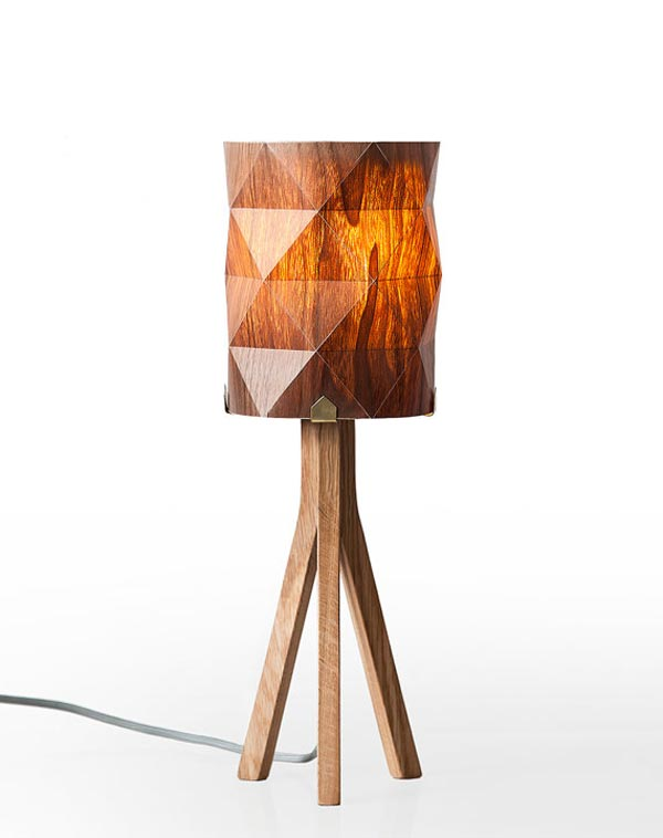 handmade veneer lighting - bedside lamp by Ariel Zuckerman