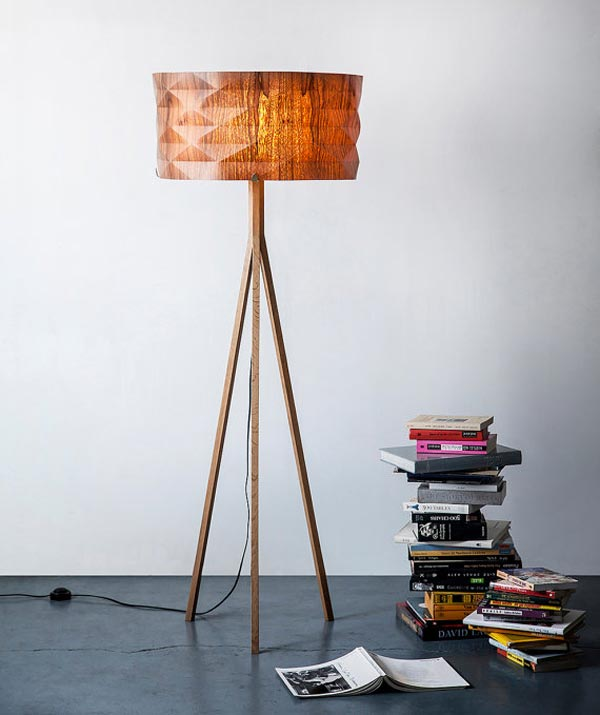 handmade veneer lighting - floor lamp by Ariel Zuckerman
