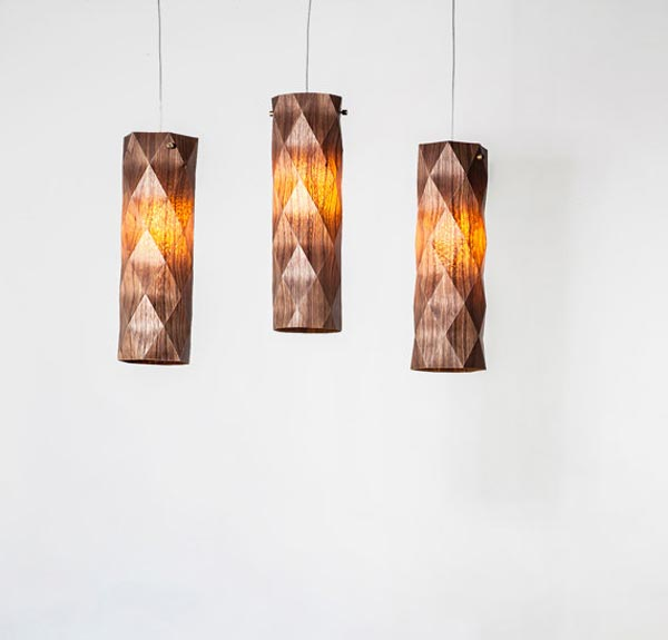 handmade veneer lighting - pendant lamps by Ariel Zuckerman