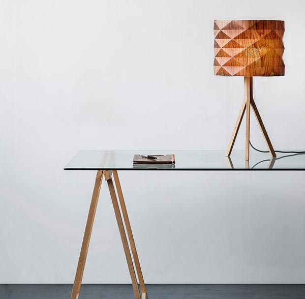 handmade veneer lighting - table lamp by Ariel Zuckerman