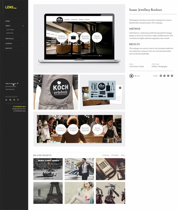 Lens Portfolio Project Page with Sidebar