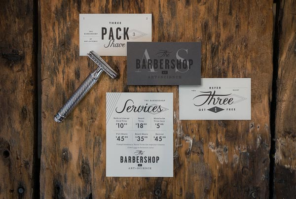 Art + Science Barbershop Branding by Firebelly Design