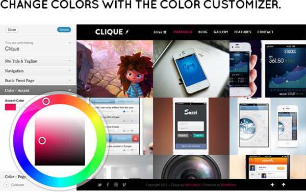 Clique – AJAX Responsive Portfolio WordPress Theme by SwiftIdeas
